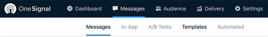 Acessando a área de templates de mensagens no OneSignal