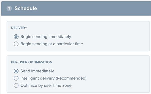 Definindo como enviar e com que otimização de envio a notificação do novo template deve ser criada
