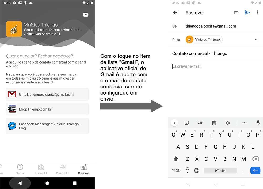Abrindo o contato comercial no app oficial do Gmail