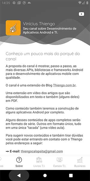Tela Sobre do canal YouTube vinculado ao app