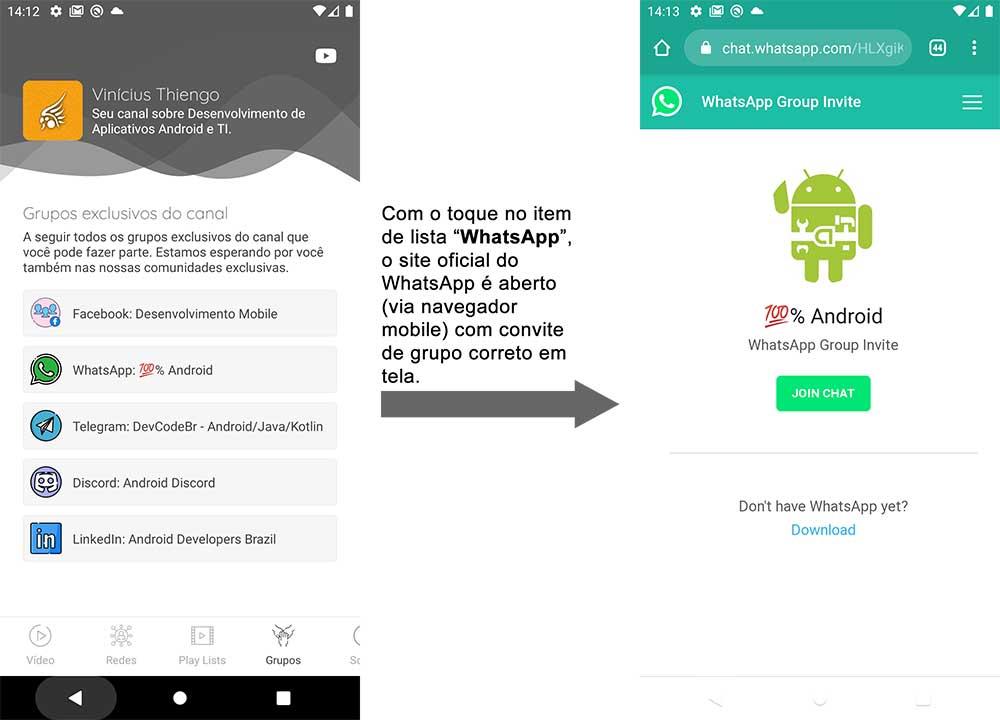 Abrindo o convite de grupo correto no site oficial do WhatsApp
