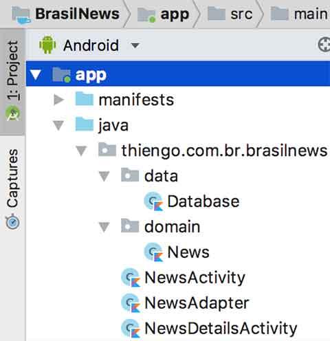 Arquitetura Android Studio do app Brasil News