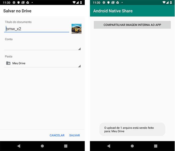 Salvando imagem no Google Drive app