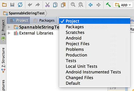 Visualização em Project no Android Studio