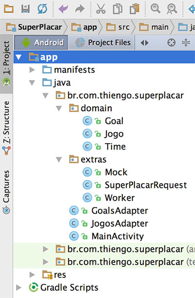 Estrutura física do projeto Android SuperPlacar no Android Studio