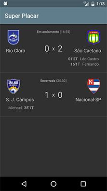 Tela principal do app Android do SuperPlacar com dois jogos