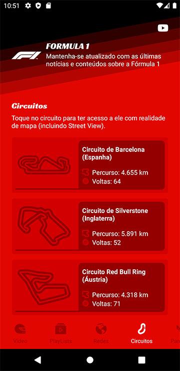 Tela de circuitos Formula 1