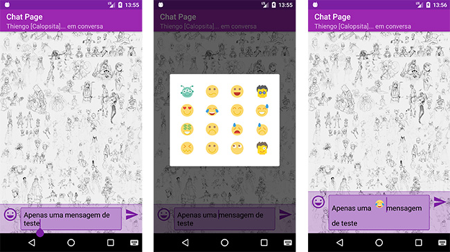 Aplicativo Android de chat em funcionamento com emotions