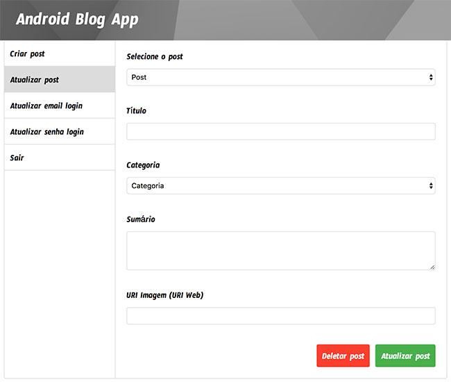 Formulário de atualização de post no dashboard de administrador do Blog