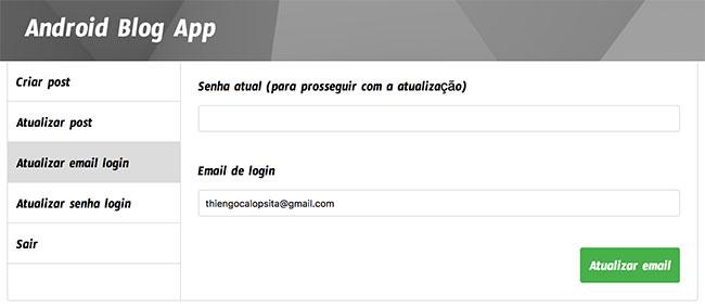 Formulário de atualização de e-mail de login no dashboard de administrador do Blog