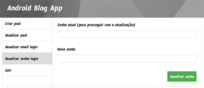 Formulário de atualização de senha de login no dashboard de administrador do Blog