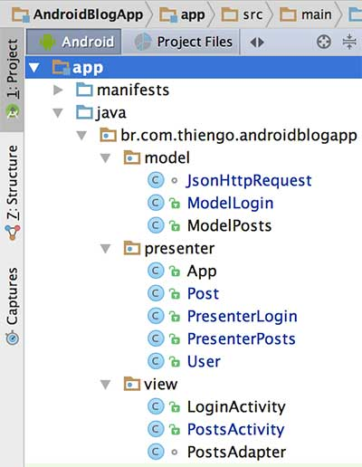 Estrutura física do app Android no Android Studio