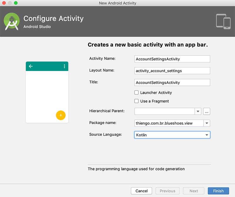 Criação da atividade AccountSettingsActivity