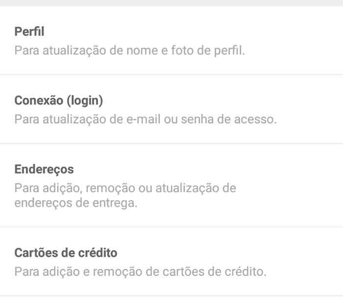 Framework de lista RecyclerView da tela de configurações de conta