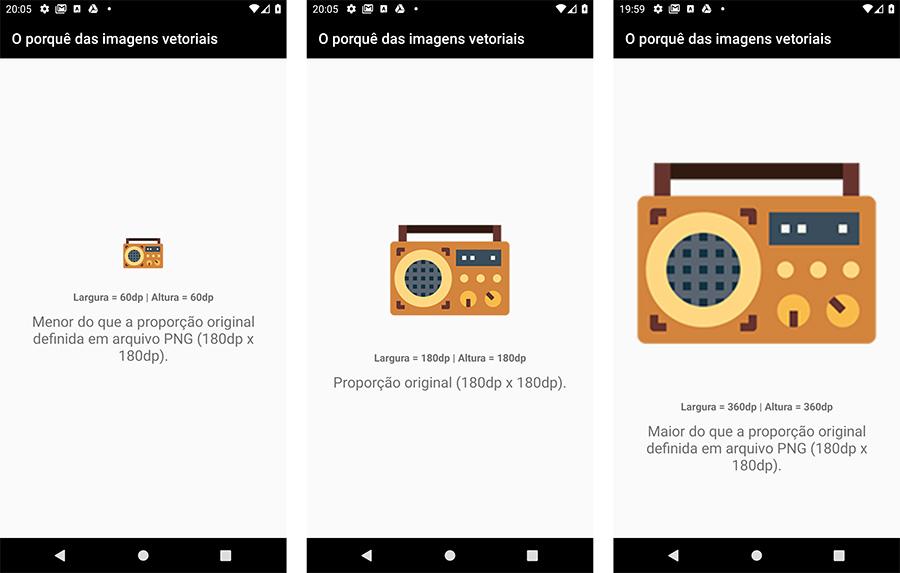 Imagem rasterizada em diferentes dimensões no Android