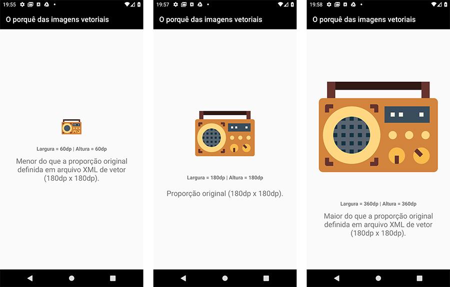 Imagem vetorial em diferentes dimensões no Android