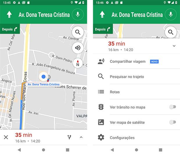 Rota para o Shopping Vitória via Google Maps Android