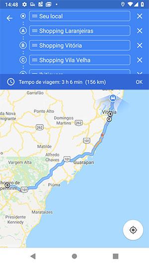 Rota ampla para Cachoeiro de Itapemirim com WayPoints - Google Maps Android