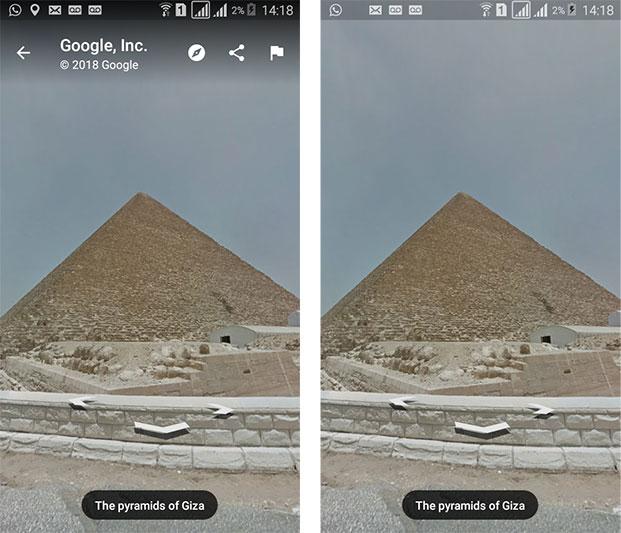 Street View entre duas pirâmides em Giza - Google Maps Android
