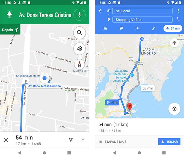 Rota de bicicleta para Shopping Vitória - Google Maps Android