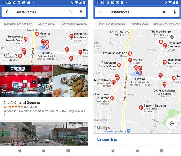 Restaurantes próximos via Google Maps Android