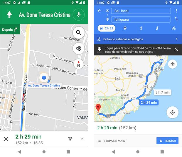 Rota para Shopping Vitória evitando pedágios e rodovias - Google Maps Android
