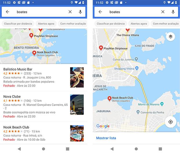 Boates próximas ao Shopping Vitória via Google Maps Android