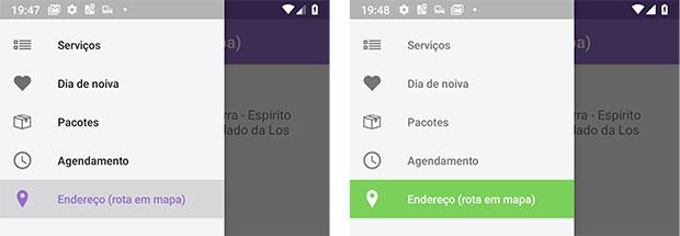 Menus gaveta Android em comparação