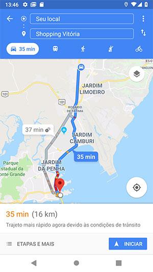 Rota completa para o Shopping Vitória via Google Maps Android