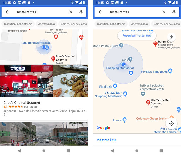 Restaurantes próximos via Google Maps Android - zoom aplicado