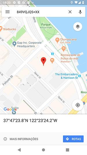 Plus code via Google Maps Android