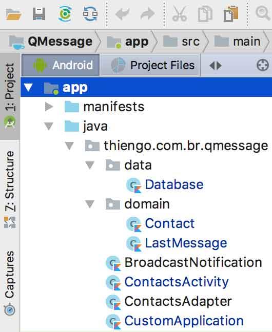 Arquitetura do projeto Android QMessage