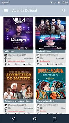 Tela principal app Android Agenda Cultural