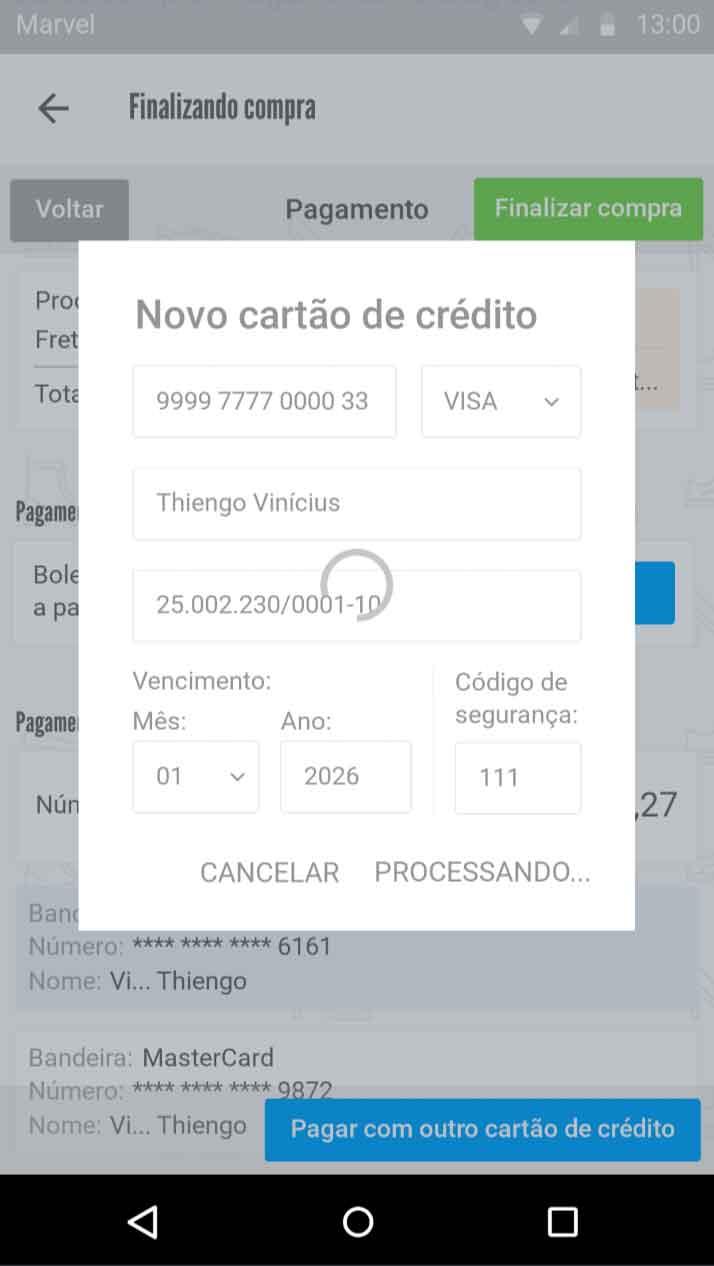 Load - novo cartão de crédito em envio