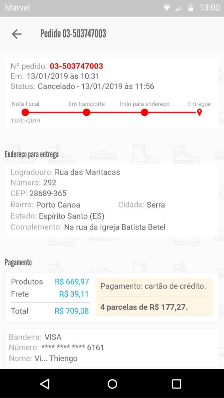Detalhes - Cancelado