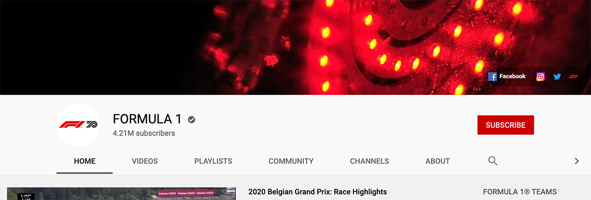 Home page do canal YouTube da Formula 1