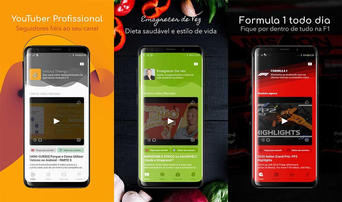 Apps Android construídos com o framework android para canais do YouTube