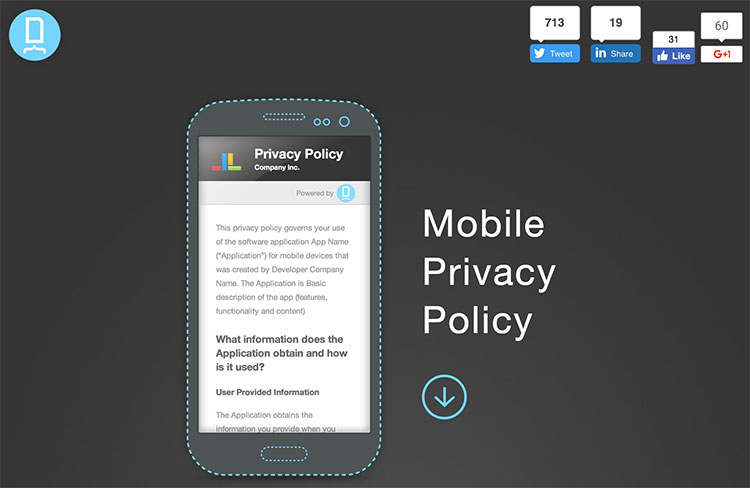 Home page da Docracy Mobile Privacy