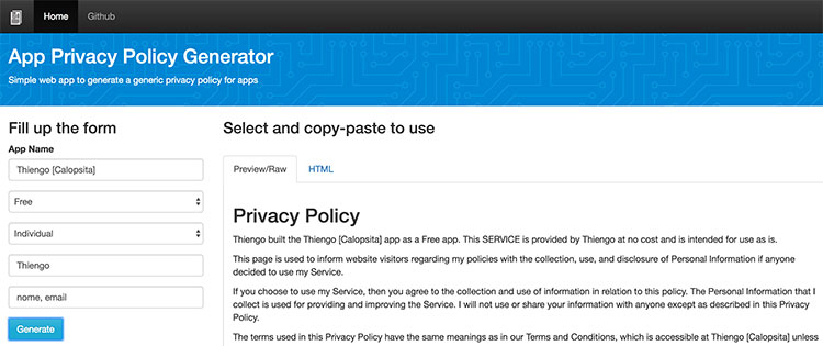 Home page de App Privacy Policy Generator