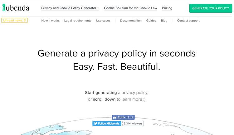 Home page da Iubenda