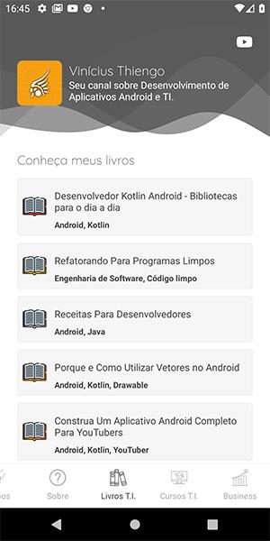 Tela dos livros do canal YouTube do app Android