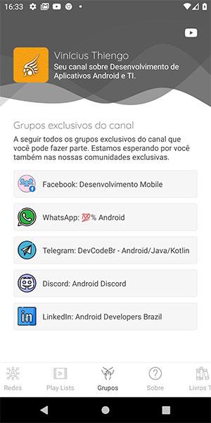 Tela de grupos exclusivos do canal YouTube do app Android
