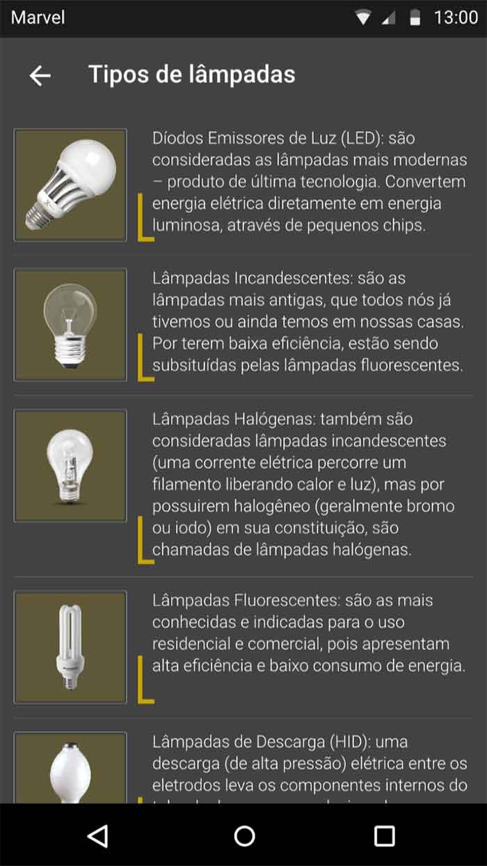 Listagem de lâmpadas - sem estilo em texto
