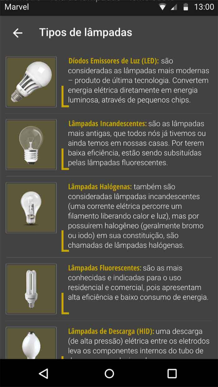 Listagem de lâmpadas - com estilo