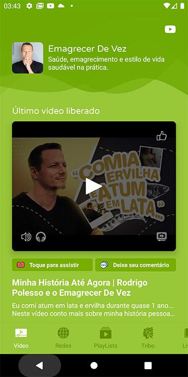 Tela de Último vídeo liberado em canal