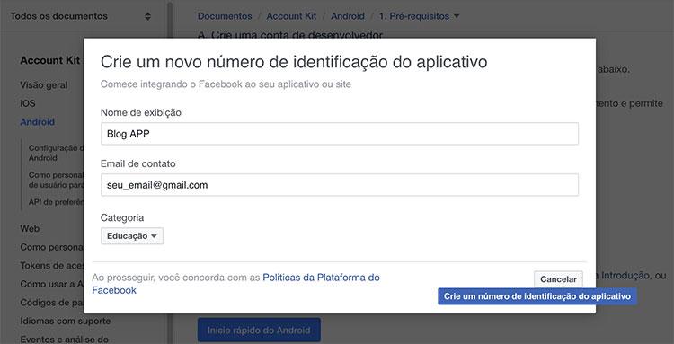 Preenchendo dados em Crie um novo número de identificação do aplicativo
