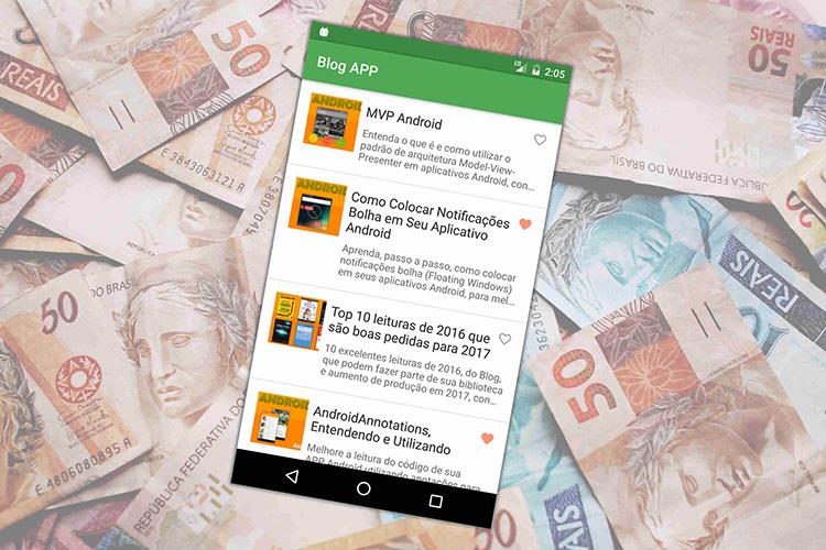 Aplicativo Android em cima do dinheiro
