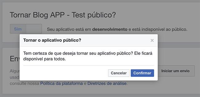 Tornando o aplicativo público, em dashboard Facebook
