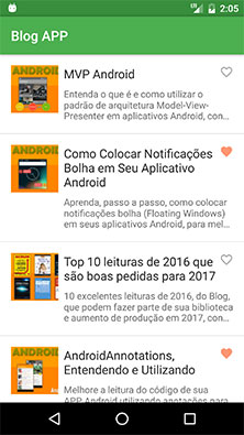 Tela principal do aplicativo Android Blog APP