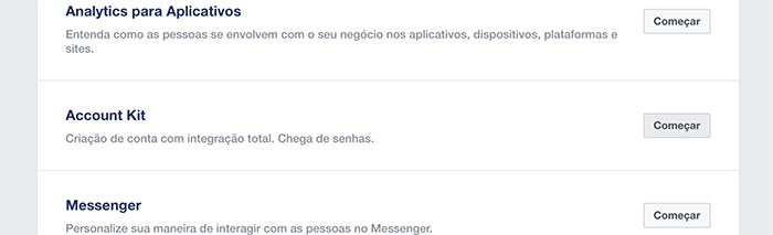 Começando a Account Kit API em dashboard Facebook